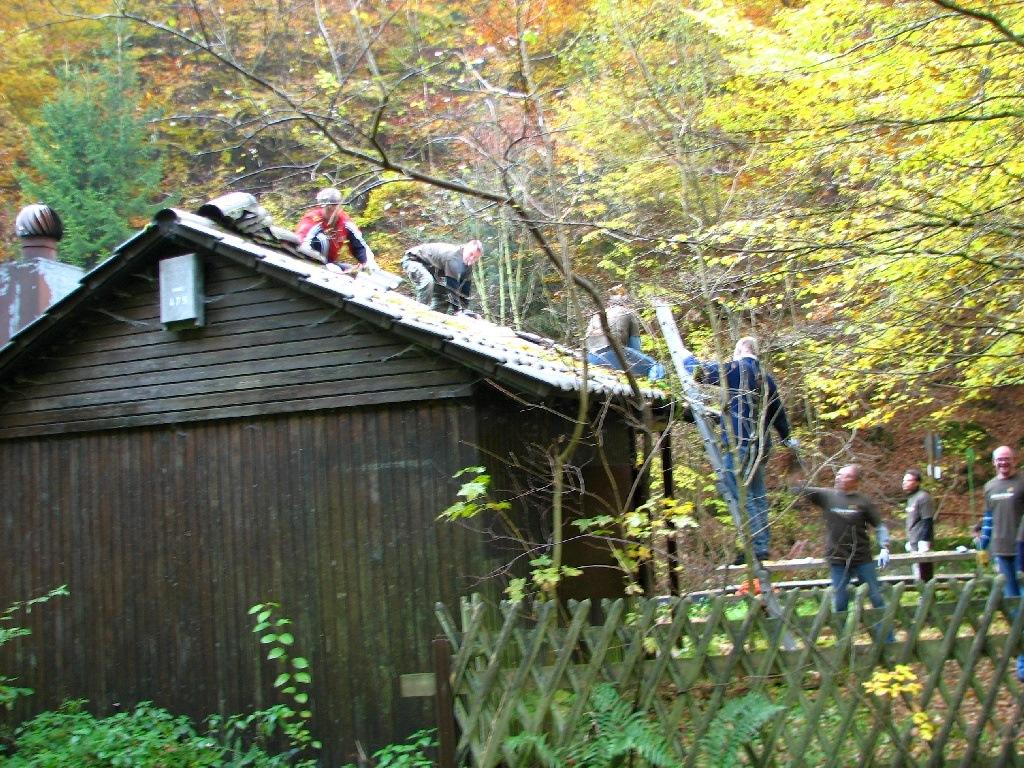 Reparatur des Dachs der NABU-Hütte
